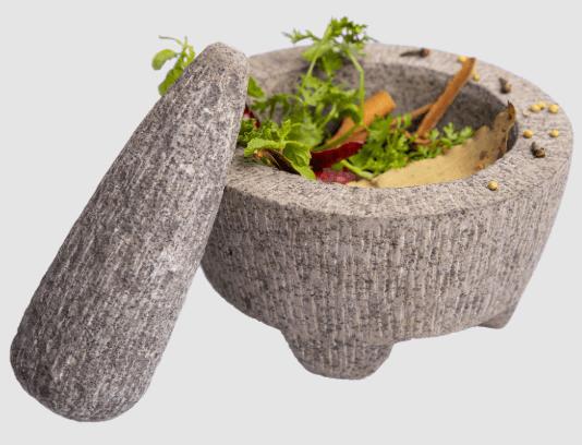 Traditional Mortar & Pestle (Natural Basalt Stone)
